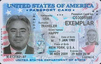 Identity documents in the United States - United States of America Passport Card (Front)