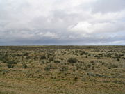 The flat plains of Patagonia, near Fitz Roy, Santa Cruz, Argentina.