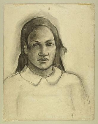 Merahi metua no Tehamana - Charcoal study, c. 1891-3, Art Institute of Chicago