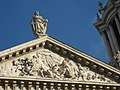 Pediment of St Paul's Cathedral with statue of St Paul.jpg