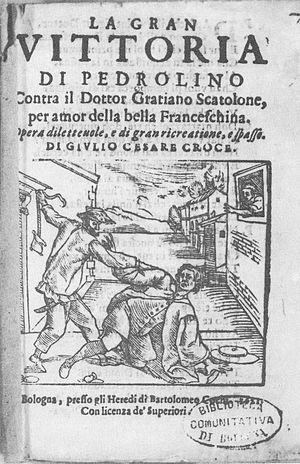 Pierrot - Pedrolino scuffles with the Doctor, 1621.