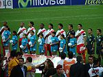 The Peruvian national team line-up prior to a Copa America game in 2007