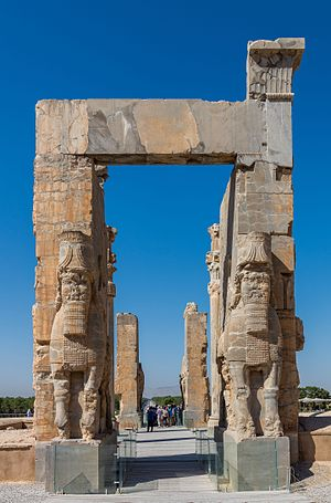 View of the Gate of All Nations, belonging to the homonym palace and located in the ruins of the ancient city of Persepolis, Iran.