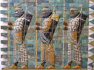"Immortals (Achaemenid Empire) - Depiction of the ""Susian guards"" from the Palace of Darius I in Susa. Their garments match the description of the Immortals by ancient authors."