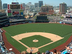2004 San Diego Padres season - The interior of Petco Park with the San Diego skyline in background.
