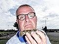 Peter van der Sluijs selfie with a large round goby.jpg