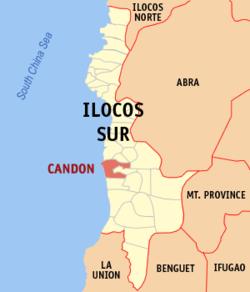 Map of Ilocos Sur showing the location of Candon City