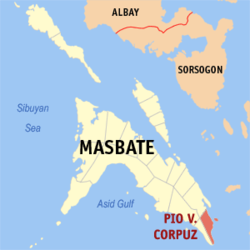 Map of Masbate with Pio V. Corpuz highlighted