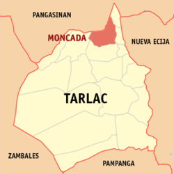 Map of Tarlac showing the location of Moncada