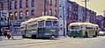 Phila. 1968 - PCC trolley on route 50 meeting a Brill trolley bus, 7th & Snyder.jpg