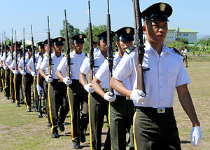 Officer Candidate School - Philippine Army officer cadets march on the parade grounds during Balikatan 2013 at Camp O'Donnell, Philippines, April 6, 2013