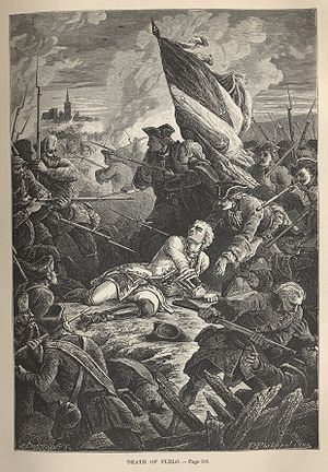 Siege of Danzig (1734) - Engraving depicting the death of Count Plélo