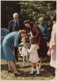 Photograph of Betty Ford Greeting Lucinda and Catherine Robb, Granddaughters of President Lyndon Baines Johnson, at... - NARA - 186772.tif