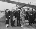 Photograph of the President and Mrs. Truman welcoming Queen Juliana of the Netherlands and her husband, Prince... - NARA - 200372.tif