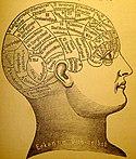 Pemetaan otak frenologis. Frenologi adalah salah satu usaha untuk mengaitkan fungsi-fungsi budi dengan bagian-bagian otak, walaupun kini frenologi dianggap tidak akurat.
