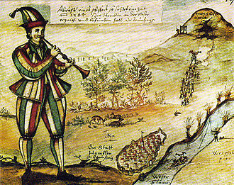 Pied Piper of Hamelin - 1592 painting of Pied Piper copied from the glass window of Marktkirche in Hamelin