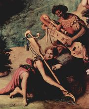 From the 1500s, a detail from Piero di Cosimo's version of Perseus rescuing Andromeda. In spite of the classical Greek theme, the instrument in the hands of the musician is an anachronism and appears to be an imaginary medieval combination of a plucked string instrument and bassoon.