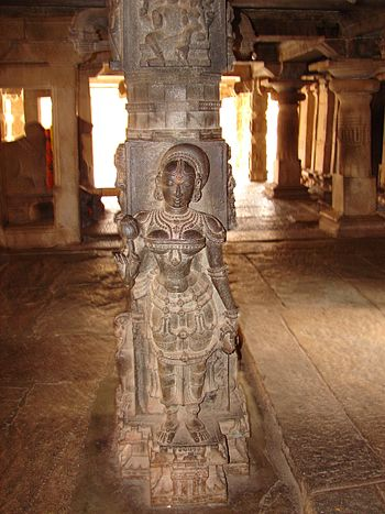 Pillar relief art in Bhoganandishvara group of temples at Chikkaballapur district.jpg
