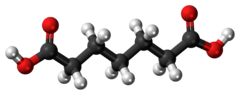 Ball-and-stick model of the pimelic acid molecule