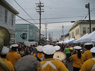 Leonidas, New Orleans - Second lining down Oak Street during the Po-Boy Festival