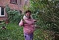 Pink human holding a hand saw in Auderghem, Belgium (DSCF2359).jpg