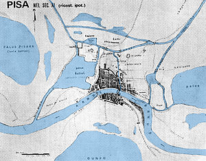 Pisa - Hypothetical map of Pisa in the 11th century AD