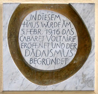 Tristan Tzara - Cabaret Voltaire plaque commemorating the birth of Dada