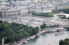 Place de la Concorde from the Eiffel Tower, Paris April 2011.jpg
