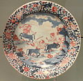 Plate with Image of Fighting Centaurs, c. 1700-1720, Arita, hard-paste porcelain with underglaze blue, overglaze enamels, gilding - Gardiner Museum, Toronto - DSC00482.JPG