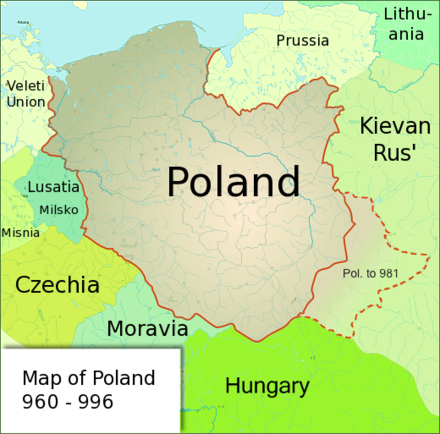 Poland under the rule of Duke Mieszko I, whose acceptance of Christianity and the subsequent Baptism of Poland marks the beginning of Polish statehood in 966 Poland960.png