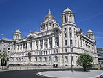 Port of Liverpool Building and Stone Balustrade, Iron Gates and Piers