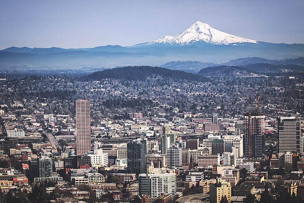 View of Portland from Pittock Mansion, with Mount Hood pictured in the background