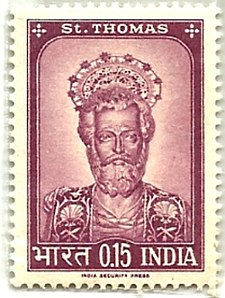Postal Department of India brought out a stamp commemorating his mission to the country Postal stamp of St Thomas.jpg