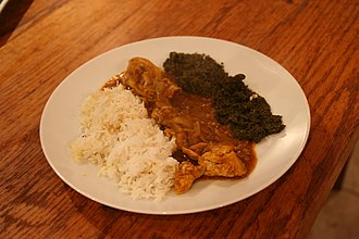 Democratic Republic of the Congo cuisine - Poulet à la Moambé (chicken with a Moambe sauce) is considered the national dish of the Democratic Republic of the Congo