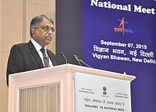 Pradeep Kumar Sinha, IAS addressing at the inauguration of the National Meet on Promoting Space Technology based Tools and Applications in Governance and Development.jpg