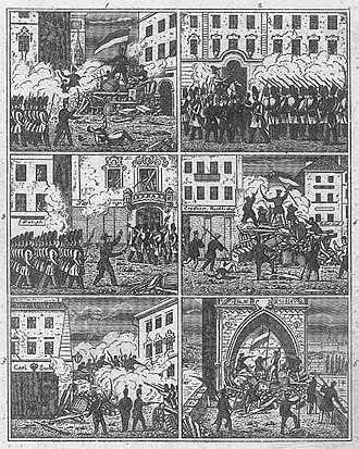 Revolutions of 1848 in the Austrian Empire - Barricades in Prague during the revolutionary events.