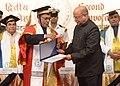 Pranab Mukherjee presenting the 'Distinguished Academy Award' to the former Chairman of the Indian Space Research Organisation (ISRO), Dr. Krishnaswamy Kasturirangan.jpg