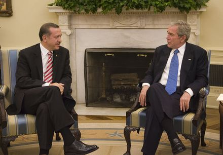 President George W. Bush meets with Prime Minister Erdogan in the Oval Office on 5 November 2007 President George W. Bush meets with Prime Minister Recep Tayyip Erdogan of Turkey Monday, Nov. 5, 2007, in the Oval Office..jpg