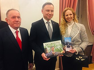 March of the Living - President of Poland Andrzej Duda with Aharon Tamir, Deputy Chairman, March of the Living