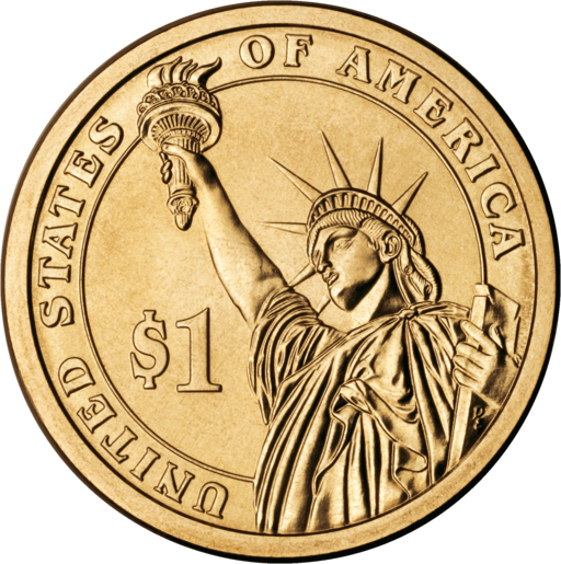 Presidential dollar coin reverse