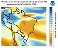 Projected change in annual average precipitation for the 21st century, based on the SRES A1B emissions scenario, and simulated by the GFDL CM2.1 model - Brazil.jpg