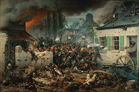 The Prussian attack on Plancenoit during the Battle of Waterloo, painted by Adolph Northen (Source: Wikimedia)