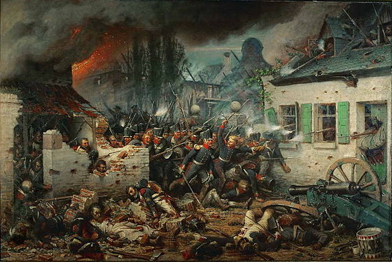 The Prussian attack on Plancenoit during the Battle of Waterloo, painted by Adolph Northen Prussian Attack Plancenoit by Adolf Northern.jpg