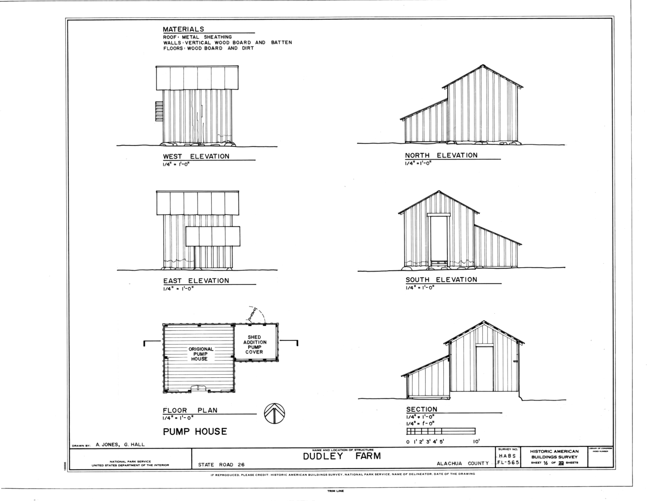 File pump house elevations floor plan and section for Floor plans and elevations