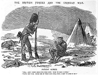 Crimea Medal - Cartoon from Punch magazine titled Patient Heroes. The caption reads: Well Jack! Here's good news from home. We are going to have a medal. That's very kind. Maybe one of these days we'll have a coat to stick it on!In December 1854, when the medal was sanctioned, there was widespread criticism in Britain that the troops were not receiving winter supplies, including warm clothing.