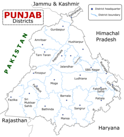Districts of Indian Punjab with headquarters