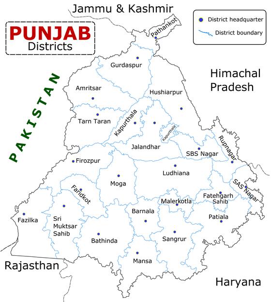 Carte Inde Punjab.District De Mohali Wikiwand