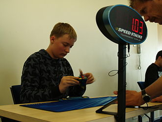 Pyraminx - Solving a pyraminx in competition. Andreas Pung at Estonian Open 2011.