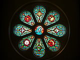 Detail of the Marian rose window in the choir loft. This window is above the main front doors.