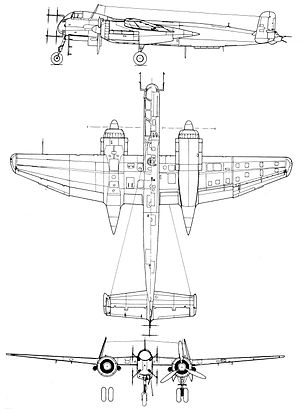 3-way drawing of Heinkel He 219A-7/R1